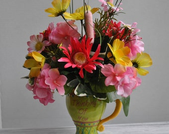 Table Arrangement, Floral Arrangement, Get Well Arrangement, Spring Centerpiece, Summer Floral, Funeral Floral, Country Floral, Pink Floral