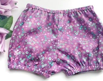Floral girls shorts, Purple baby girl shorts, Floral baby shorts, Girls bubble shorts, Toddler shorts, Baby bloomers, Floral bloomers.