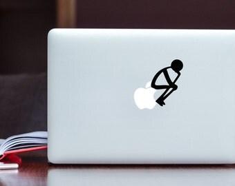 Stickman Thinking Apple MacBook Decal / Stick figure think Laptop Decal / iPad Decal vinyl sticker
