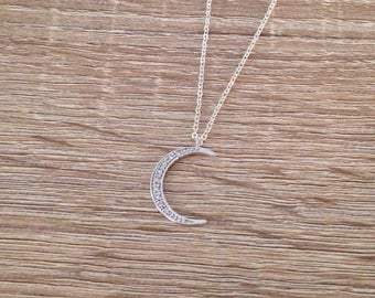 Crescent Moon Necklace, Celestial Pendant, Crystal Moon Pendant, Cubic Zirconia Jewelry, Moon Charm Necklace, CZ, Silver Rhodium Plated