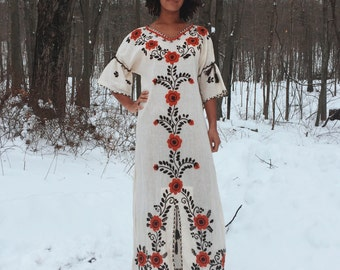 70's RARE mexican embroidered maxi dress!