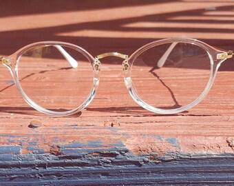 Clear Transparent Round Retro Vintage Nerd Geek Fashion Men Women Glasses UV400  Protected Eyewear