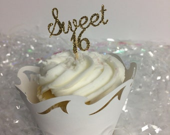 Sweet 16 Cupcake Toppers ~ party ~ birthday ~ sixteen ~ gold ~ glitter ~ girl ~ teenager