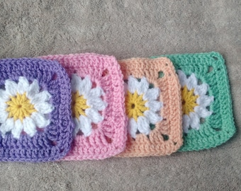 Crochet Daisy Granny Squares, Set of 4, Spring/Easter Colors