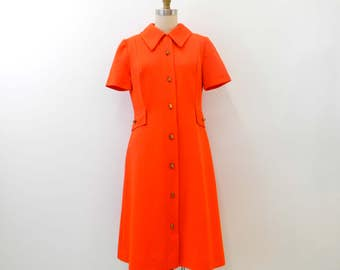 Vintage 1960s Day Dress...Short Sleeve Button-up Orange Red Dress...Pointed Notched Collar...Gold Log Buttons...Pleated Dress...Size Medium
