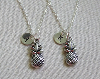 Pineapple Necklaces Set of Two Tropical Jewelry Personalized Nature Lovers Gift Birthday Gift Valentine's Gift for Two Sterling Silver