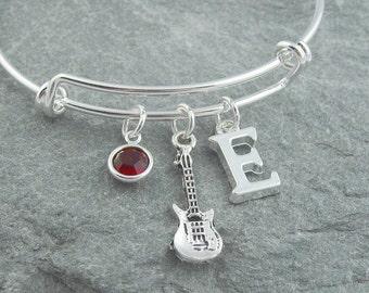 Guitar bracelet, silver electric guitar, initial bracelet, swarovski birthstone, personalized jewelry, guitar player gift, music jewelry
