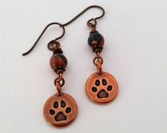 Paw Earrings Pawprint Earrings Dog Mom Earrings Cat Mom Earrings Copper Paw Charm Paw Print Jewelry Niobium Earrings