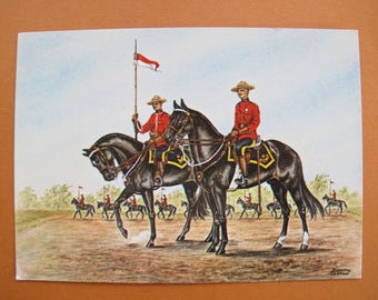 Royal Canadian Mounted Police art postcard (unposted) / RCMP Canada souvenir postcard / Dorothy Seaton art postcard / Majestic Post card