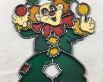 Vintage Creepy Juggling Clown Plastic Suncatcher