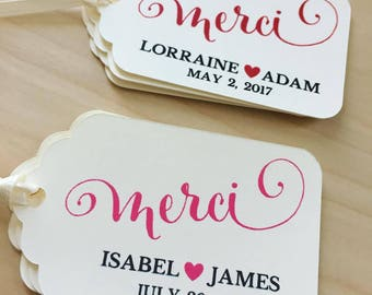 MERCI Favor Tags,MERCI Wedding Favor Tags,Wedding Favor Tags,Bridal Shower Favor Tags,Custom Favor Tags,MERCI Tags