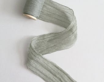 "2.5"" gray silk ribbon hand dyed — on wooden spool — bridal bouquet, invitations, fine art wedding styling"