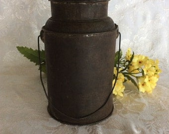 Antique primitive tin metal can milk water pail lunchbox beverage container