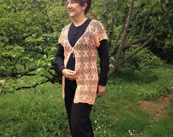 Crochet vest, Crochet cover up, plus size womens clothing, CUstom made clothing, long vest, lace vest, elegant plus size clothing