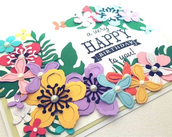 Floral Birthday Card, Handmade Greeting Card, Flowers, Birthday Card for Her