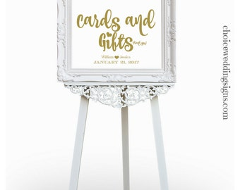 Cards And Gifts Downloadable Wedding Sign In A Gold Leaf Color Font | Calligraphy Wedding Sign | Gold Wedding Sign PDF CWS303_1112C