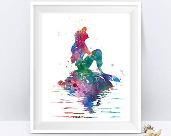 Princess Ariel Art Print Ariel Little Mermaid Watercolor Poster Disney Poster Ariel Painting Wall Art Nursery Gift For Mom Digital Download