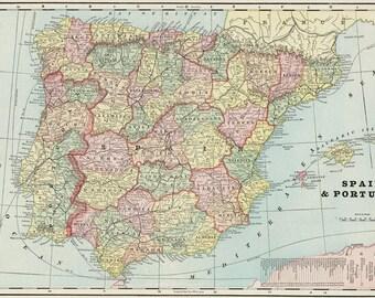 Antique Spain map.Portugal map digital.Old Europe map printable digital download.Vintage Europe Map- Instant Digital Download.PRINTABLE map.