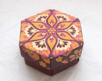 PITAYA Paper Flower Keepsake Box, Purple and Gold Floral Gift Box – Handmade Jewelry Box, Paper Treasure Box, Modular Origami Hexagon Box