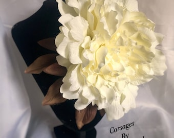 Flower corsage, dress corsage - 30s 40s vintage bridal wedding style cream peony corsage, large corsage,, lightweight, handmasde