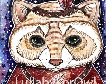 raccoon print art nursery raccoon watercolor cute animal print winter art raccoon wall decor animal print raccoon painting art
