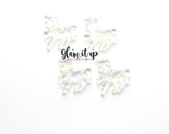 Unicorn Resin-Glitter Unicorn Resin-Hair bow center- Glitter Unicorn Flatback resin- Unicorn cabochon-Unicorn hair bow-unicorn headband