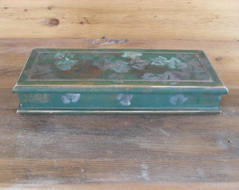 Vintage Wood Jewelry Box with Mirror Shabby Chic Weathered Distressed Antique Country Primitive Farmhouse Boho