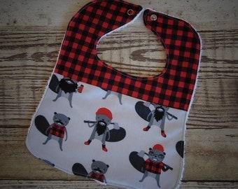 Handmade baby bib, Toddler bib, Snap bib, Lumber Jack, Red and black, Hipster, Baby item, Baby shower gift, Baby boy, Woodland