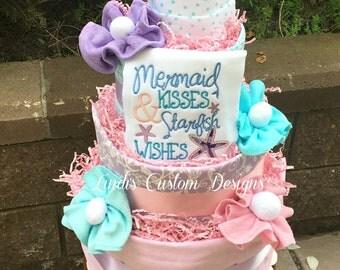 Mermaid Diaper Cake, Baby Girl Diaper Cake, Mermaid Kisses Starfish Wishes, Burp Cloth Diaper Cake, Table Centerpiece, Baby Shower Gift