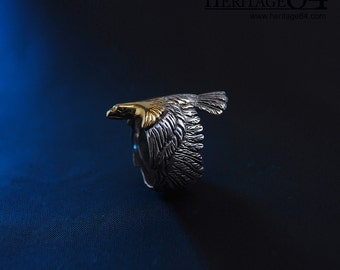Eagle Ring, man's statement ring, silver ring woman, hawk silver long ring, adjustable open ring, long ring, wrap ring, unisex fashion ring