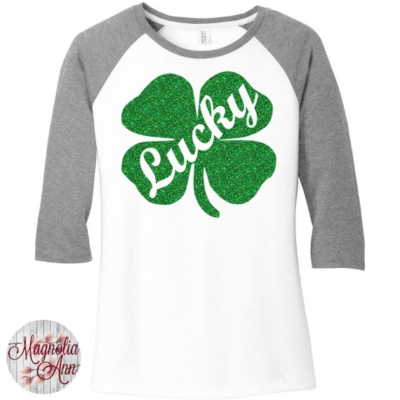 Green Glitter Lucky Shamrock, St Patricks Day, Baseball Raglan 2 Tone 3/4 Sleeve Womens Tops Shirts in Sizes Small-4X, Plus Size