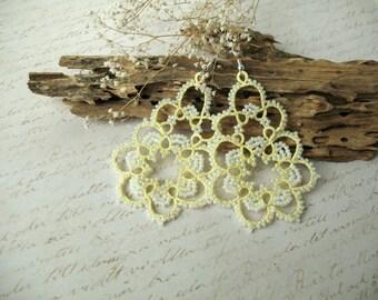 Tatted earrings Tatting jewelry Earrings for bride Yellow earrings Tatting lace earrings Prom earrings Chandelier earrings Boho chic