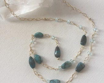 Azurite Gemstone Necklace, Wire Wrapped, Beaded Y- Necklace, Gold Filled Wire, Chain and Clasp