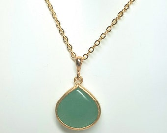 Jade necklace, green necklace, jade-green necklace, adventurine green necklace, green and gold necklace, gold plated, approx. 18 inches long