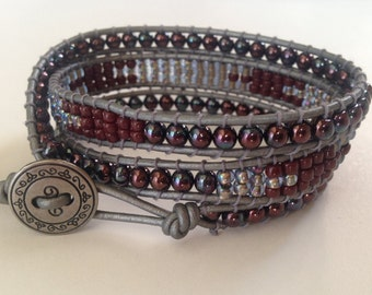 Silver and Burgundy Wrap Bracelet, Red Burgundy Wrap Bracelet, Silver Gray Bracelet,