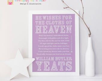 WB Yeats Art Print, Yeats Print, Cloths of Heaven, Irish Poetry, Irish Art, Poetry Art, Irish Print, Wall Art, Wedding Gift, Wall Decor