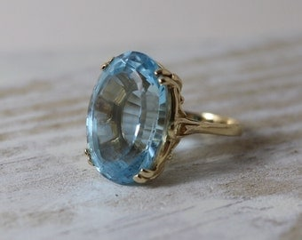 Vintage 14K Large Blue Topaz ring, 23 ct, size 6 1/2, yellow gold, statement ring, November Birthstone, 4th anniversary gift, estate jewelry