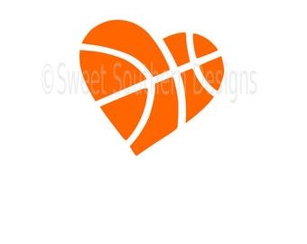 Basketball heart monogram SVG instant download design for cricut or silhouette