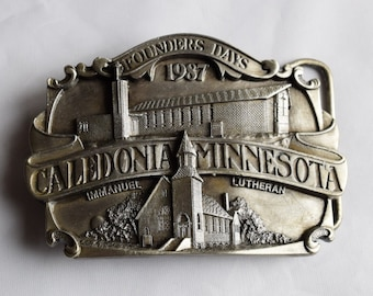 "Historic Keepsake 1987 Belt Buckle/ ""Caledonia, Minnesota"" Belt Buckle"