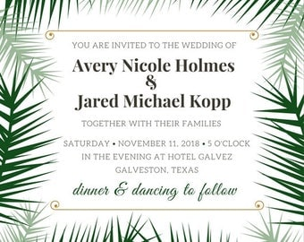 Modern Palm Fronds Fully Customizable Summer Wedding Invitation