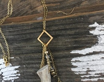 Deer Antler Cluster Necklace