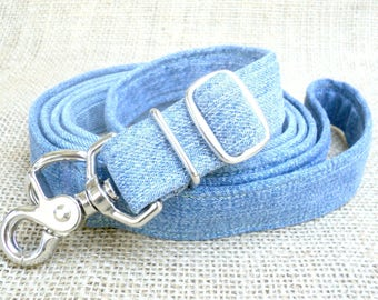 "Dog Leash: 1"" Wide, Adjustable 4'-6' feet~ Up-Cycled Denim with Metal Swivel Trigger-Snap Hook~ ECO Friendly, Recycled Dog Leash"