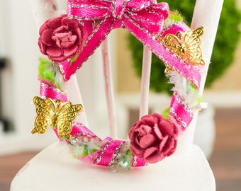 Pink and Green Spring Butterfly Wreath - 1:12 Dollhouse Miniature