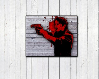 "Glenn Rhee The Walking Dead 11x14"" Print, Red Print, Digital Print, Watercolor Print, HiRes Print, TWD, Bloody Print, AMC, Movies & TV"