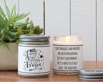 Land of the Free Because of the Brave Soy Candle Gift | Deployment Gift | Enlistment Gift | Military Gift | 4th of July Gift