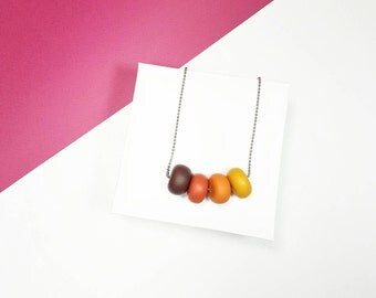 Brown necklace, Ombre necklace, Polymer clay necklace, Caramel necklace, Adjustable necklace, Donut necklace, Earth necklace, Gift for mum
