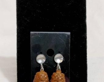 Pine Cone Screw Back Earrings