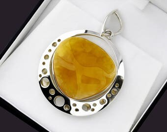 Gemstone Pendant For Woman, Pendant Jewelry For Her, Silver Pendant, Cognac Pendant, Baltic Amber Pendant, Amber & Silver Pendant, Gift