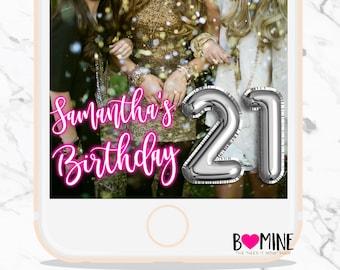 BIRTHDAY SNAPCHAT GEOFILTER, Neon Snapchat Filter, Foil Balloon, Balloon Snapchat, Neon, Birthday Decorations, Age Snapchat,Custom Snapchat