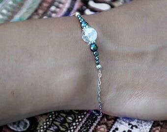 Bracelet Quartz Cristal de roche - Argent 925, chaine fine, intercalaires en argent vieilli, pierres fines naturelles, semi-précieuses